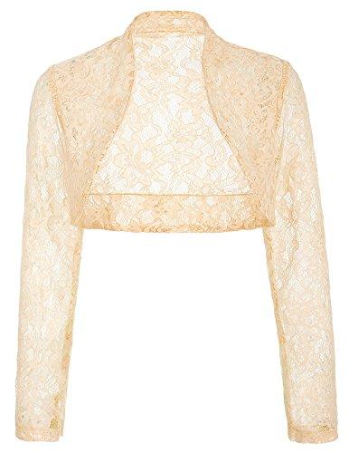 JS Fashion Vintage Dress Stylish Wrap Dance Dress Shrug for Ball (2XL,Apricot BP49)