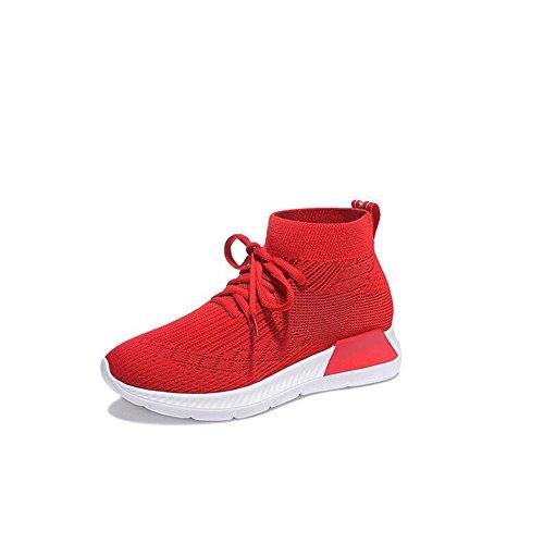 Zapatos Zapatos perezosos Malla casuales Rojo con cordones Señoras resistente desgaste mujer ocasionales Zapatos antideslizantes Otoño Zapatillas deportivos Negr para PU transpirable Color al Primavera xO7tqUnwC