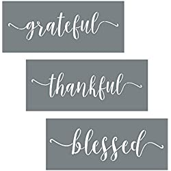 I like that lamp Grateful Thankful Blessed Stencil Set - 3 Reusable Sign Stencils – Modern DIY Wall Décor