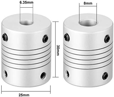 color plateado Sourcingmap 30 x 25 cm Conector flexible de motor de aleaci/ón de aluminio de 6,35 mm a 8 mm