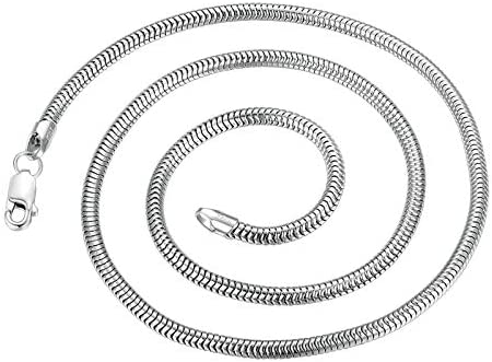 Amody Pendant Necklace for Men Sterling Silver Snake Chain Necklace 3mm Width 18-24 inch Gothic Necklace for Men