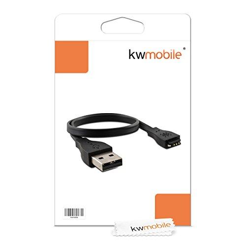 kwmobile USB Ladekabel für Fitbit Charge/Force/Flex-2 - Ladegerät Ersatzkabel für Fitness Tracker Sport Armband in Schwarz Schwarz