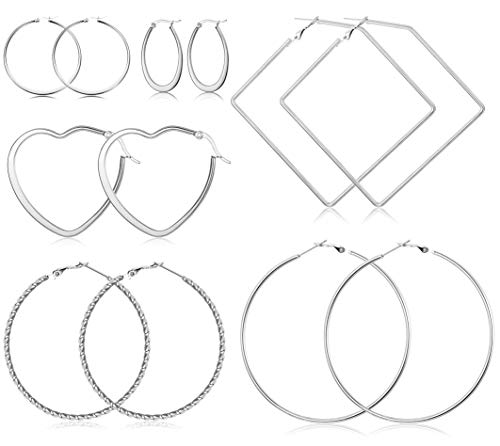 Milacolato 6 Pairs Stainless Steel Geometric Thin Hoop Earrings for Women Girls Lightweight Square Heart Earring Set ()