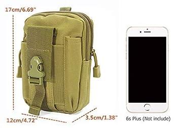 Vdealen EDC Utility Gadget Pouch sacoche Ceinture avec support pour t/él/éphone portable Holster pour iPhone 8 7 6S Plus 5S Samsung Galaxy S7 S6 LG HTC et plus Tactique Molle Pouch