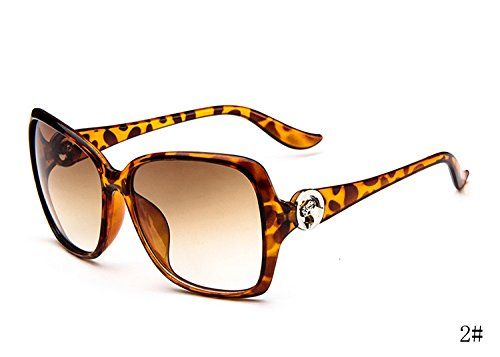 XENO-Hot Women's Fashion Designer Sunglasses Retro Vintage Shades Oversized - Sunglasses Leopard Bloc