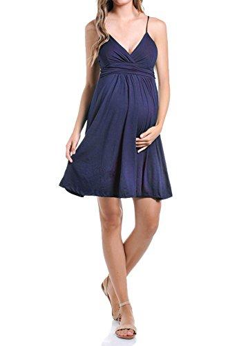 Beachcoco Women's Maternity Sweetheart Short Dress (L, Navy)