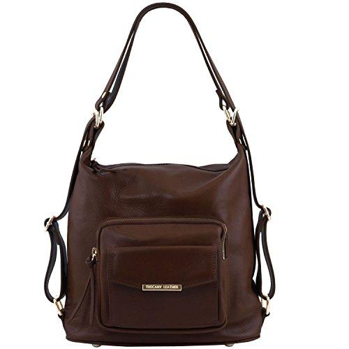 Tuscany Leather TL Bag - Bolso de señora en piel convertible en mochila - TL141535 (Rojo) Marrón Oscuro