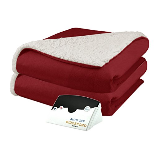 Pure Warmth by Biddeford Micro Mink and Sherpa Electric Heated Blanket Full Brick