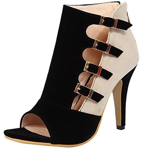 AIWEIYi Women's Patch Color Pumps Buckles Cutouts Platform High Heel Sandal Shoes (US 6.0= Asia 36=Feet Length 23.0cm, Black)