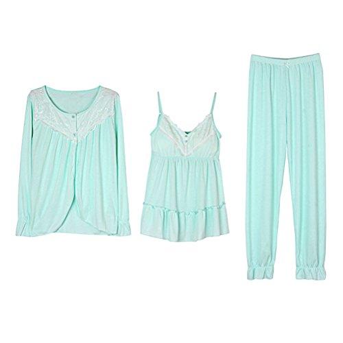 Zhhlinyuan Fashion Round neck Long Sleeve Nightwear Three-piece Womens Comfy Pajama Green