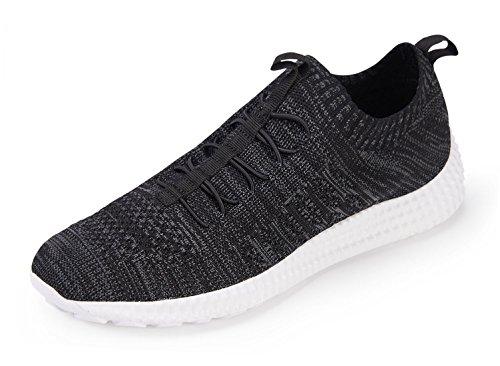 Chui Hombres Malla Transpirable Ligero Zapatillas De Moda Cómodos Zapatos Para Caminar Negro