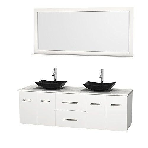 UPC 799559215309, Wyndham Collection Centra 72 inch Double Bathroom Vanity in Matte White, White Carrera Marble Countertop, Arista Black Granite Sinks, and 70 inch Mirror
