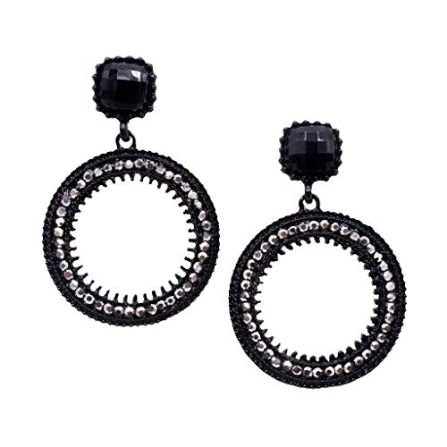 (Women Girls Crystal Rhinestone Geometric Round Circle Stud Earring Eardrop Necklace Jewelry Crafting Key Chain Bracelet Pendants Accessories Best| Color - Black)
