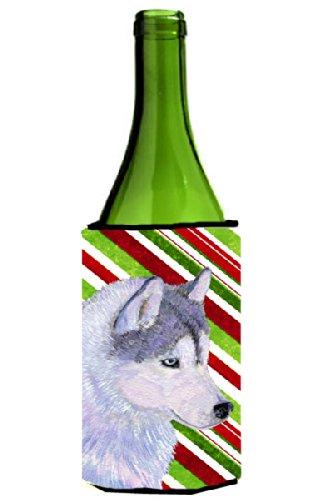 Siberian Husky Candy Cane Holiday Christmas Wine Bottle Beverage Insulator Beverage Insulator Hugger - Candy Cane Huggers