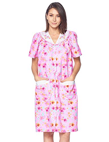 Casual Nights Women's Snap Front House Dress Short Sleeve Woven Housecoat Duster Lounger Robe, Floral Pink, Small
