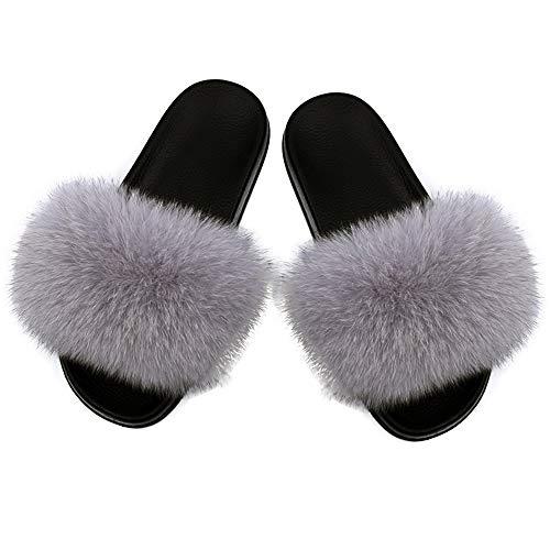 Fur Silver (Yu He Women Real Fox Fur Feather Vegan Leather Open Toe Single Strap Slip On Sandals Silver 40)