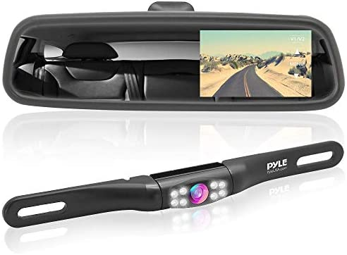 Rear View Backup Camera System – Parking Reverse Car Vehicle Rearview Back Up w 4.3 LCD Mirror Monitor Assembly Kit, Night Vision, Tilt-Adjustable Angle, Mounts on License Plate – Pyle PLCM4560