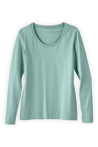 Fair Indigo Fair Trade Organic Essential Long Sleeve Scoop Neck Tee (XXL, Spa Blue)