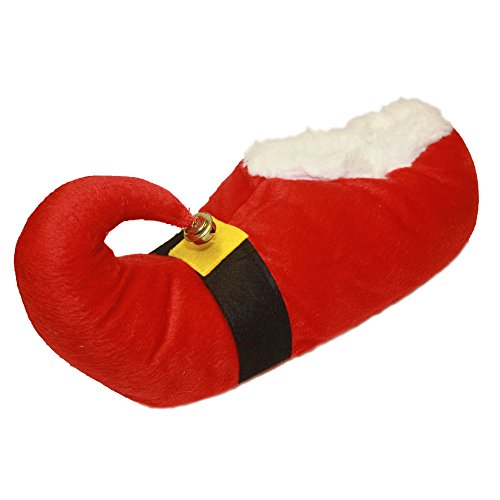 Adults Unisex Novelty Christmas Slippers with Bell ~ Santa or Elf Santa HlPcp