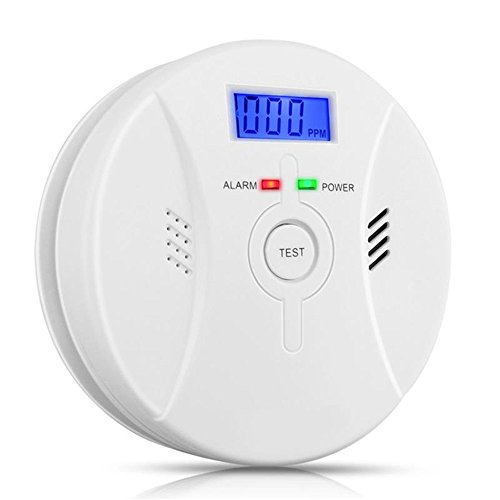 Combination Photoelectric Smoke and Carbon Monoxide Detector for Home, Travel Portable Fire&Co Alarm Battery Operated with Sound Warning and Digital Display