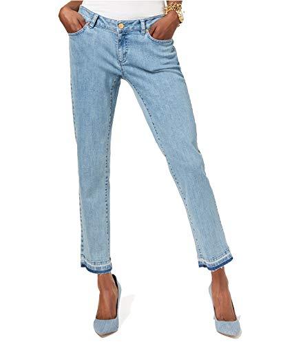 MICHAEL Michael Kors Womens Vintage Wash Released Hem Straight Leg Jeans Blue -