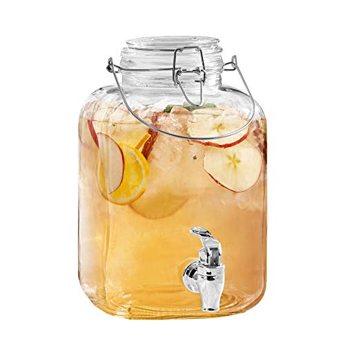(Style Setter Hoss 210173-GB 1 Gallon Glass Beverage Dispenser with Metal Handle, 6.3 x 10.3