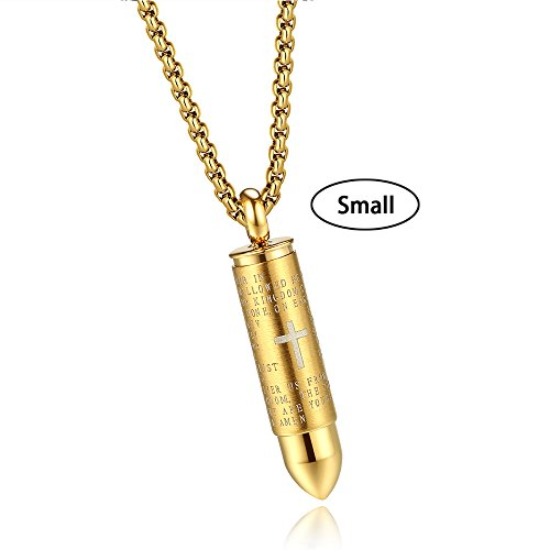 Molike Stainless Steel English Lord's Prayer Cross Bullet Pendant Urn Ashes Necklace for Men, 22