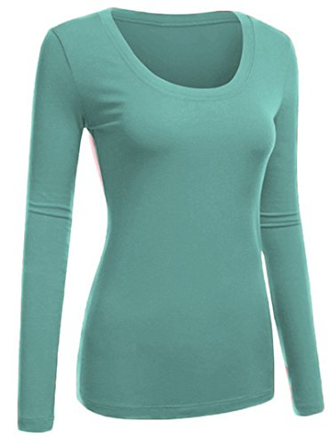 Sage Long Sleeve Tee - Emmalise Women's Plain Basic Scoop Neck Long Sleeve Tshirt Tee - Dusty Sage, S
