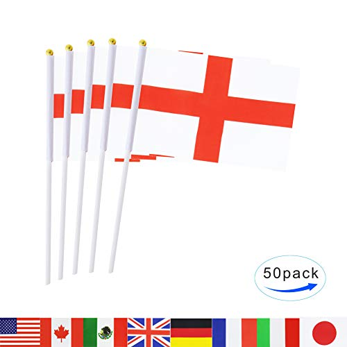 England Stick Flag,TSMD 50 Pack Hand Held Small English Nati