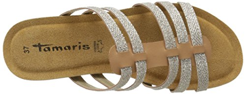 Tamaris 27111 Damen Pantoletten Beige (NATURE/GOLD 369)