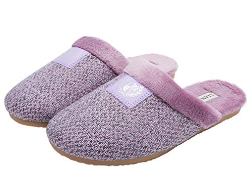 GOLDGOD Cloth Slippers Warm Home Indoor Cotton Slippers Couples Europe and America Cotton Swabs Light Purple, Light Green, Blue, Brown,Lightpurple,39/40 -
