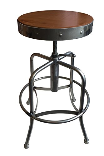 Holland Bar Stool Industrial Adjustable Screw Stool with Clear Coat Finish & Distressed Wood Seat, Medium - Adjustable Chair Catalina