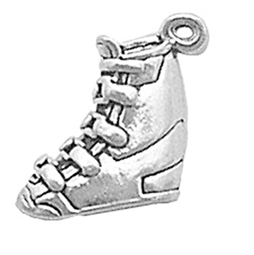 925 Sterling Silver Simple Sporty Snow Ski Boot/Shoe Charm For Bracelet/Necklace ()