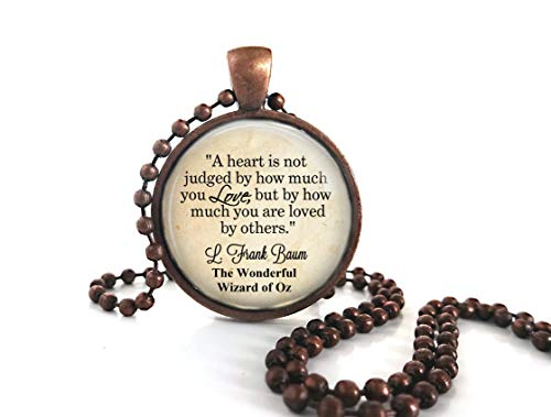 Little Gem Girl Wonderful Wizard Oz Quote Necklace a Heart Is Not Judged Antique Copper ()