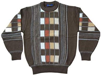【Aspetiva】日本製 ウール100% 7ゲージ 格子柄 クルーネックセーター (3072)