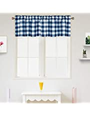 IDEALHOUSE Window Treatments Tier Curtains,Buffalo Check Plaid Gingham Short Window Curtain for Cafe,Farmhouse,Bathroom,Kitchen & Living Room Rod Pocket Curtains