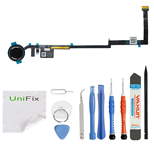 Black Home Button Flex Cable Replacement with Rubber Gasket For iPad 5 (5th Generation) Models A1822 A1823 + Premium Repair Toolkit by Unifix