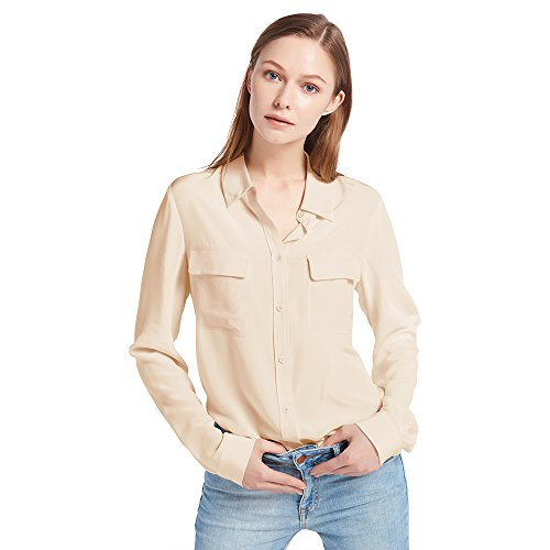 LilySilk Silk Blouse for Women's 100% Long Sleeve Ladies Shirts 18 Momme Silk Soft Office Shifting Sand M/8-10