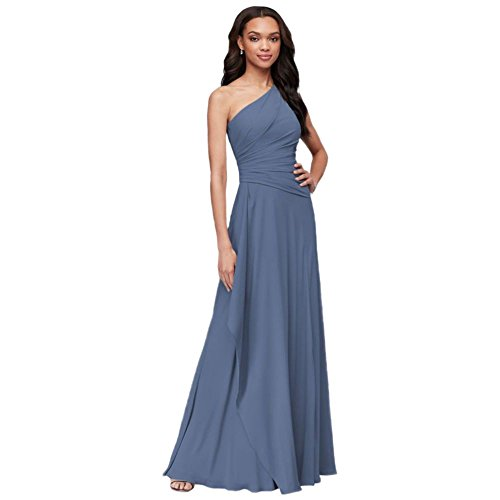 Dress One Shoulder Georgette - One-Shoulder Georgette Cascade Bridesmaid Dress Style F19832, Steel Blue, 0