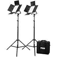 Fovitec  StudioPRO - 2x Bi Color 600 LED Panel Bundle w/ Barndoors, Stands, & Carrying Case - [Continuous][Adjustable Lighting][V-Lock Compatible]