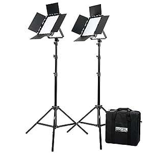 Fovitec  StudioPRO - 2x Bi Color 600 LED Panel Bundle w/ Barndoors, Stands, & Carrying Case - [Continuous][Adjustable Lighting][V-Lock Compatible]