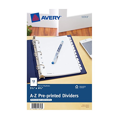 Avery Mini Preprinted Dividers with A-Z Tabs, 5.5 x 8.5-Inches, 12-Tab Set (11313) (Divider X 12 Divider)