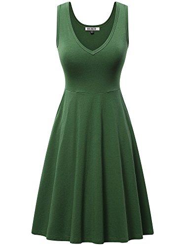 HUHOT Womens Sleeveless V Neck Dress with Pocket Summer Beach Midi Flared Tank - Dress Tank Green Womens