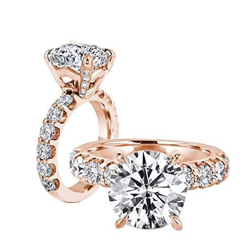 Erllo 3ct Cubic Zirconia Engagement Rings High Setting CZ Wedding Round Promise Solitaire 925 Sterling Silver