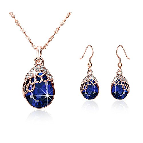 """""""Teardrop of Mermaid""""Rose Gold Plated Sapphire Pendant Necklace & Earrings -Mysterious Blue Ocean Story"""