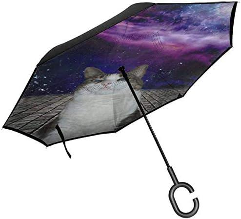 キャットスペース ユニセックス二重層防水ストレート傘車逆折りたたみ傘C形ハンドル付き