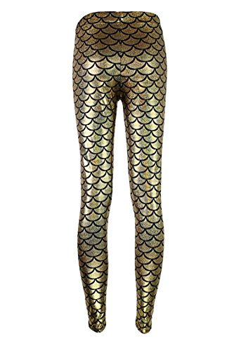 COCOLEGGINGS Women Sexy Mermaid Fish Scale Hologram Stretch Soft Shine Leggings Gold S