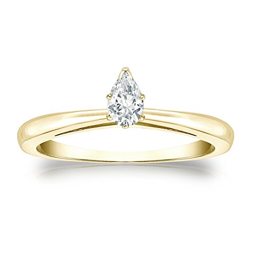 14k Yellow Gold Pear Diamond Simulated Cubic Zirconia Solitaire Ring V-Prong(1/4 ct,Excellent Quality) Size 7
