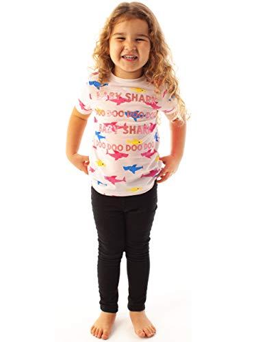 Baby Shark Glitter All Over Shark Print Pink Girl's T-Shirt
