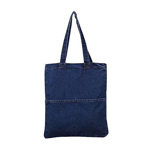 MyLifeUNIT Denim Shoulder Bag, Tote Bag Handbag with Double Pockets for Women